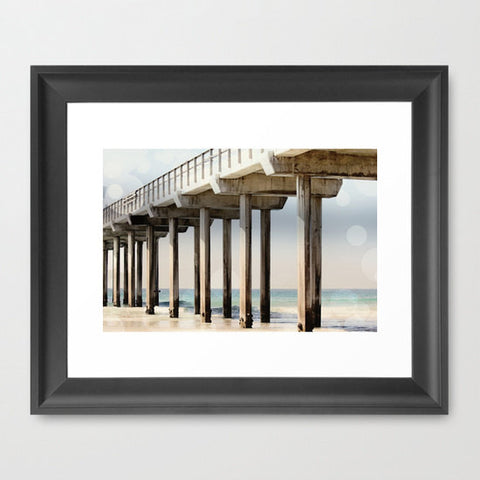 Geometric Photography - Ocean Photograph - California photography - Boardwalk Art Print - Nautical Photo - Beach photo print - Blue Ocean - Sylvia Coomes