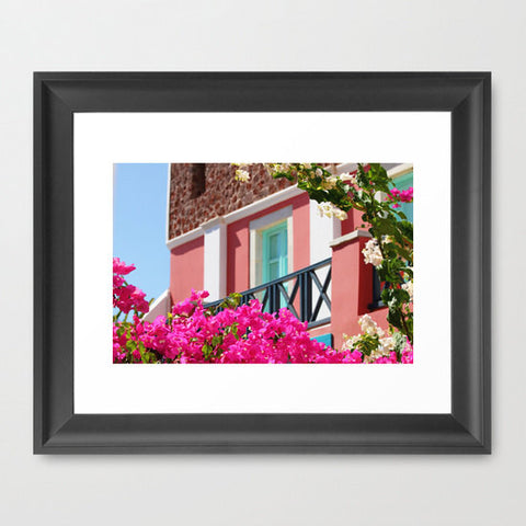Architecture Photography - Pink Peach Turquoise Photo - Mediterranean Photograph - House Art Print - Hot Pink Flowers - Sylvia Coomes