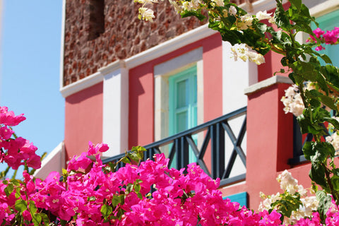 Large Greece Photo - Architecture Photograph - Pink Peach Turquoise Photo - Mediterranean Photo - House Photo Print - Hot Pink Flowers - Sylvia Coomes