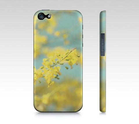 Blue Yellow Phone Case - iPhone 5 5S 6 6S - Abstract Phone Cover - iPad Mini - Samsung Galaxy S4 S5 - Pastel Sky - Bright Yellow Flowers - Sylvia Coomes