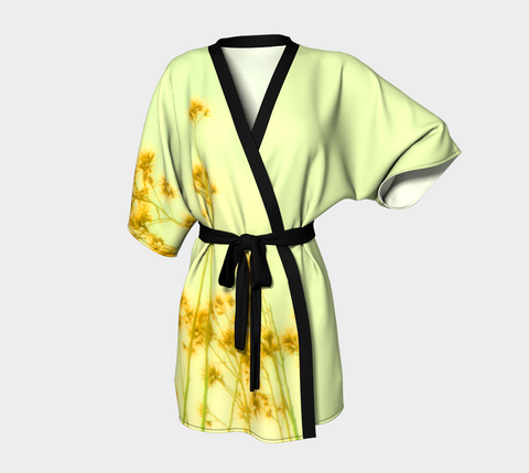 Art Kimono Robe - Kimono Robe - Womens Robe - Sage and Yellow Robe - Sexy Kimono Robe - Sexy Robe - Elegant Robe - Art Fashion - Art Pajamas - Sylvia Coomes