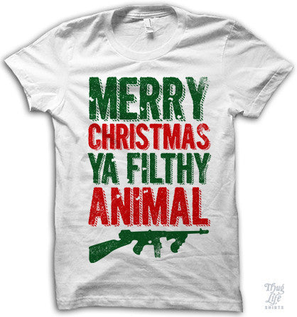 Merry Christmas Ya Filthy Animal Adult Shirt