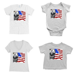 Blue eyes Skull & USA flag Matching family outfit