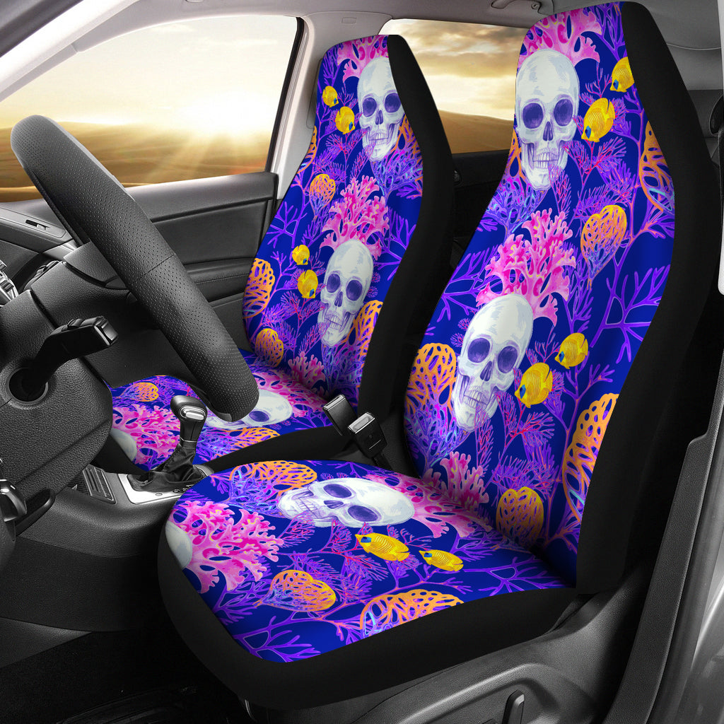 Skull & Colorful Coral Car Seat Covers - Skull Vibe