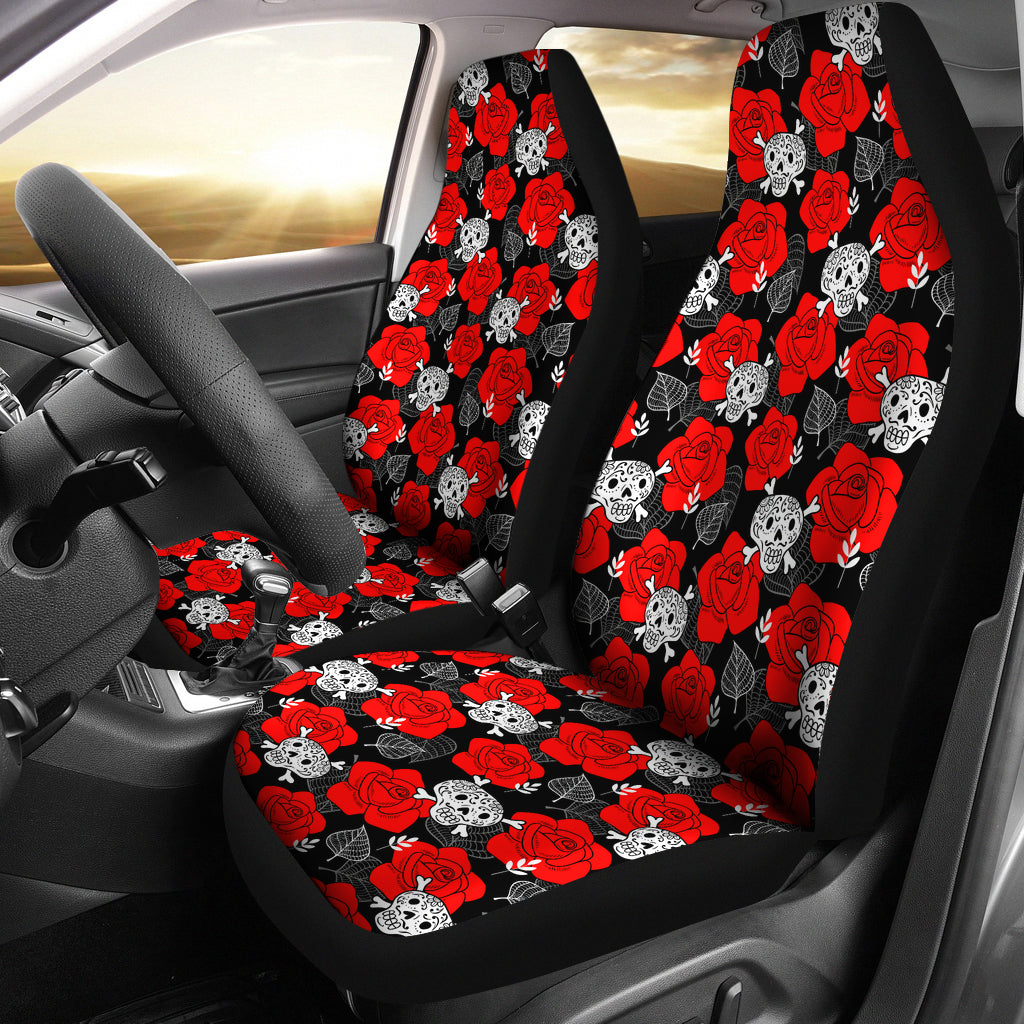 Roses Sugar Skulls Car Seat Covers
