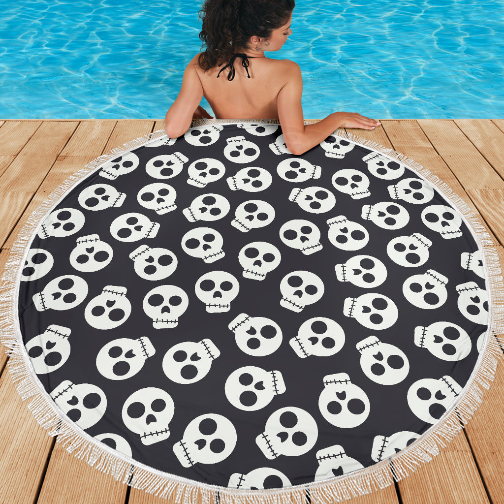 Family Beach Blanket: White Skulls Beach Blanket