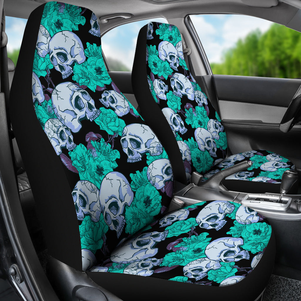 Skull & Colorful Flowers Car Seat Covers - Skull Vibe