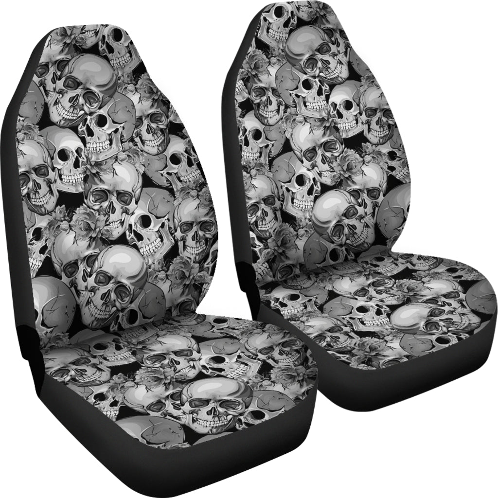 Seamless Flowers Skulls Car Seat Covers