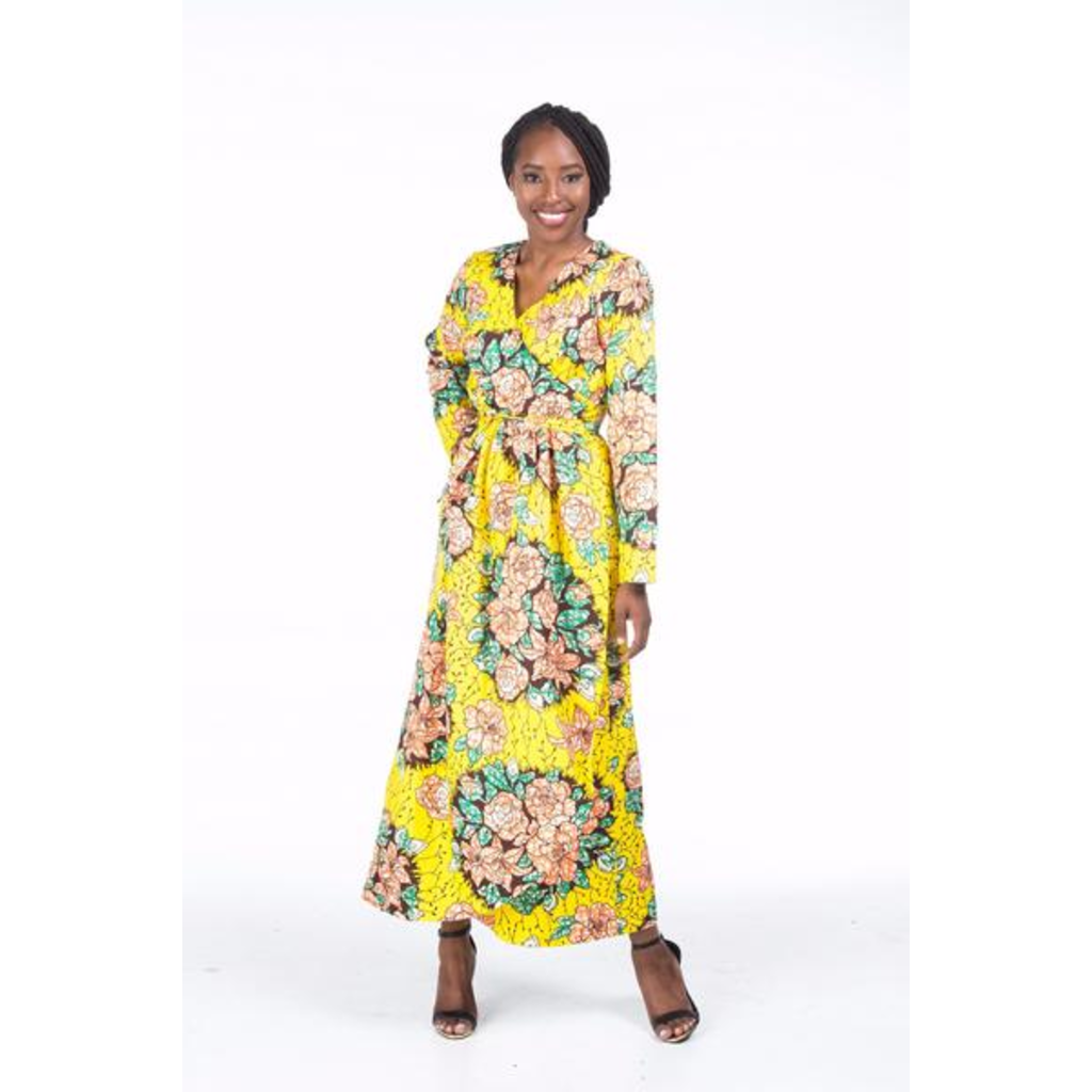 Floral Beam Wrap Maxi Dress