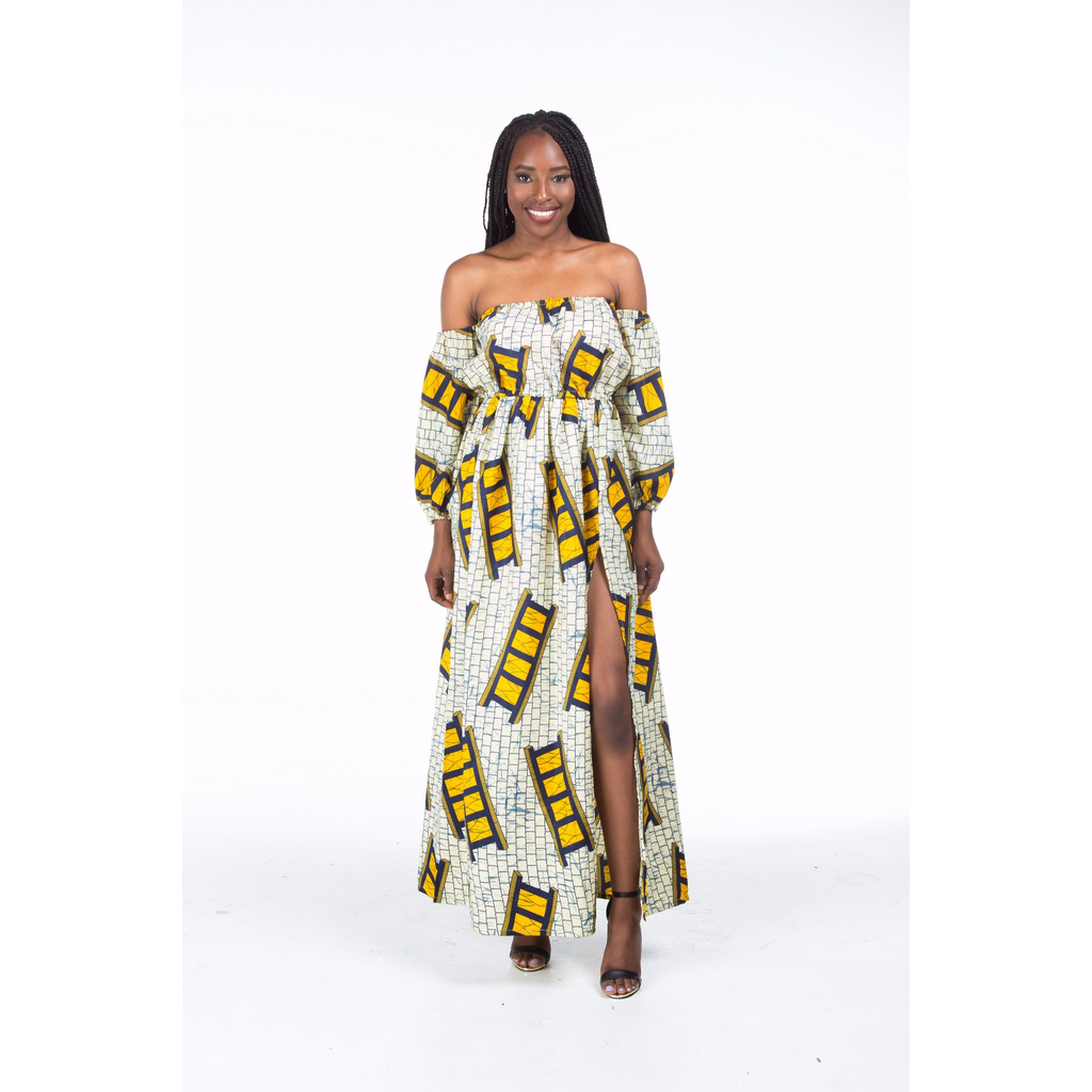 Funmi Maxi Dress With High Slit and Off shoulder