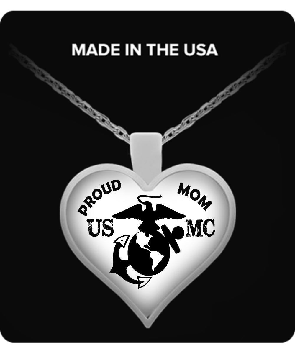 Us marine corps proud mom heart pendant cunique gifts necklace us marine corps proud mom heart pendant mozeypictures Image collections