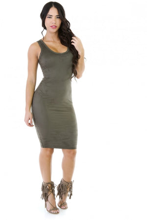Olive Slim Fit Microfiber Dress