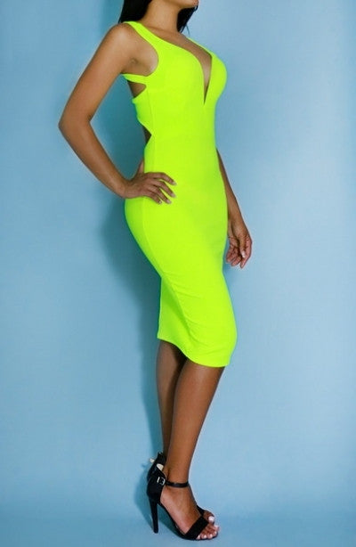 Lime Green Midi Lenght Dress