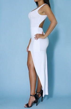 Hi Split White Dress