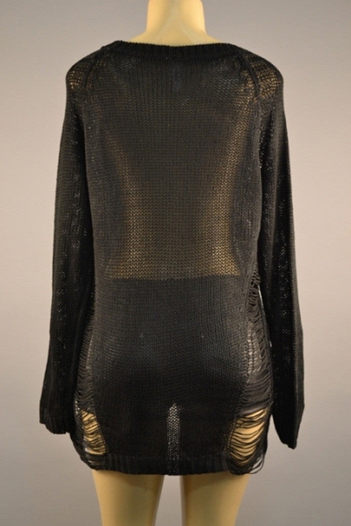 Black Distressed Side Sweater