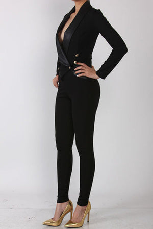 Black Fitted Catsuit Jumper