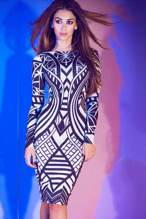 Navy Blue Tribal Print Bodycon Dress