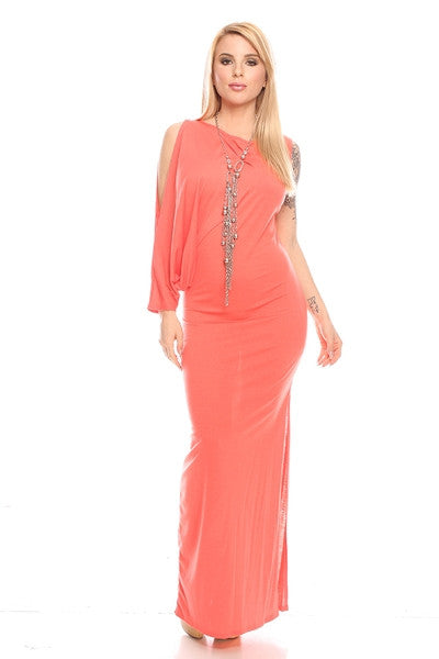 One sleeve full length sun dress
