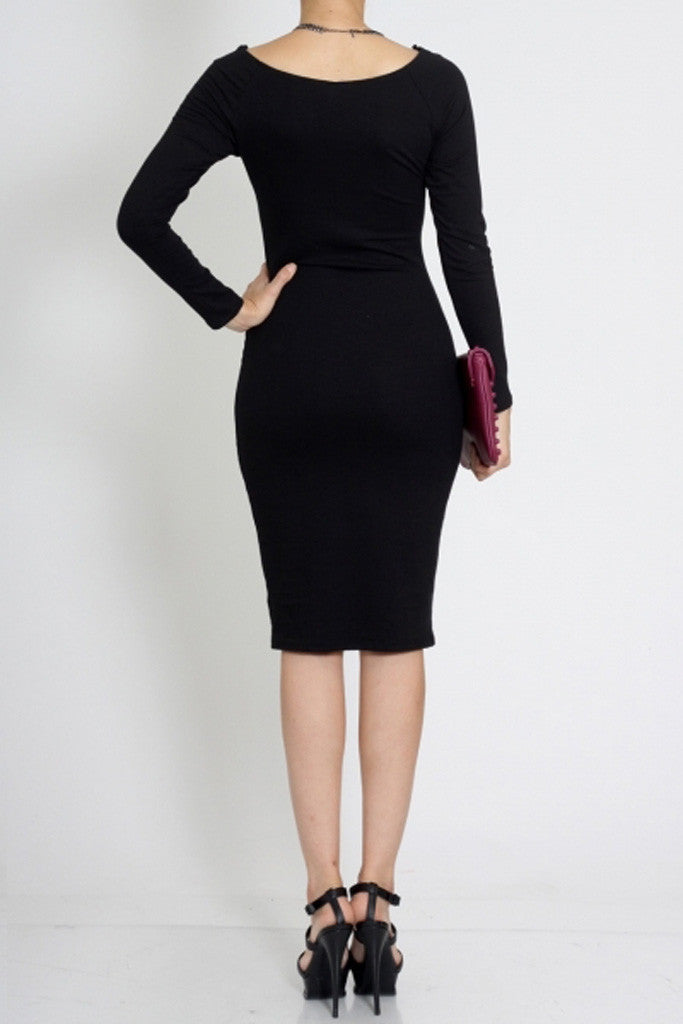 Midi Length Long Sleeve Black Dress