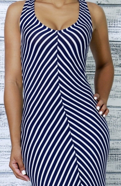 Blue Chevron Print Sun Dress