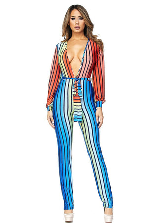 Long Sleeve Multi Colored Jumpsuit
