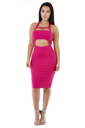 Pink Bodycon Dress Mid Cutout