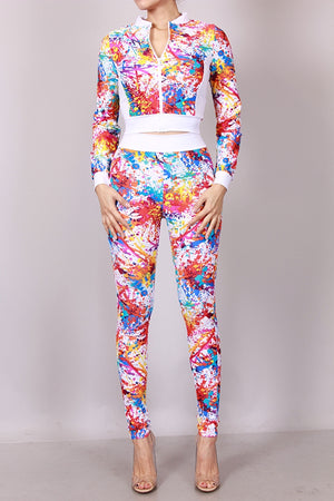 Colorful Legging with Jacket Outfit