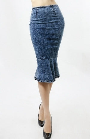 Stacey in Denim Skirt