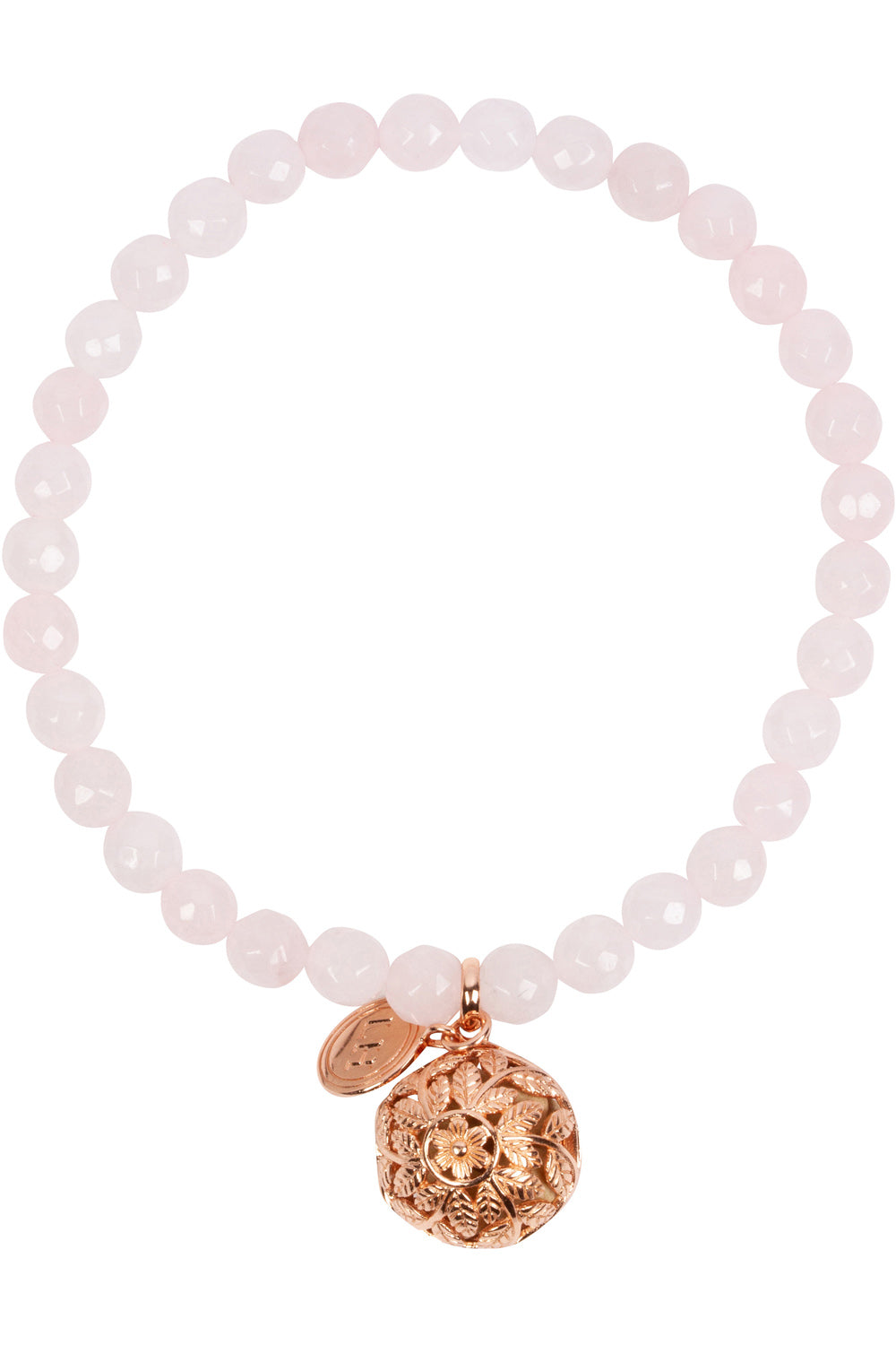 Rose Quartz Fragrance Bracelet with Flora Charm