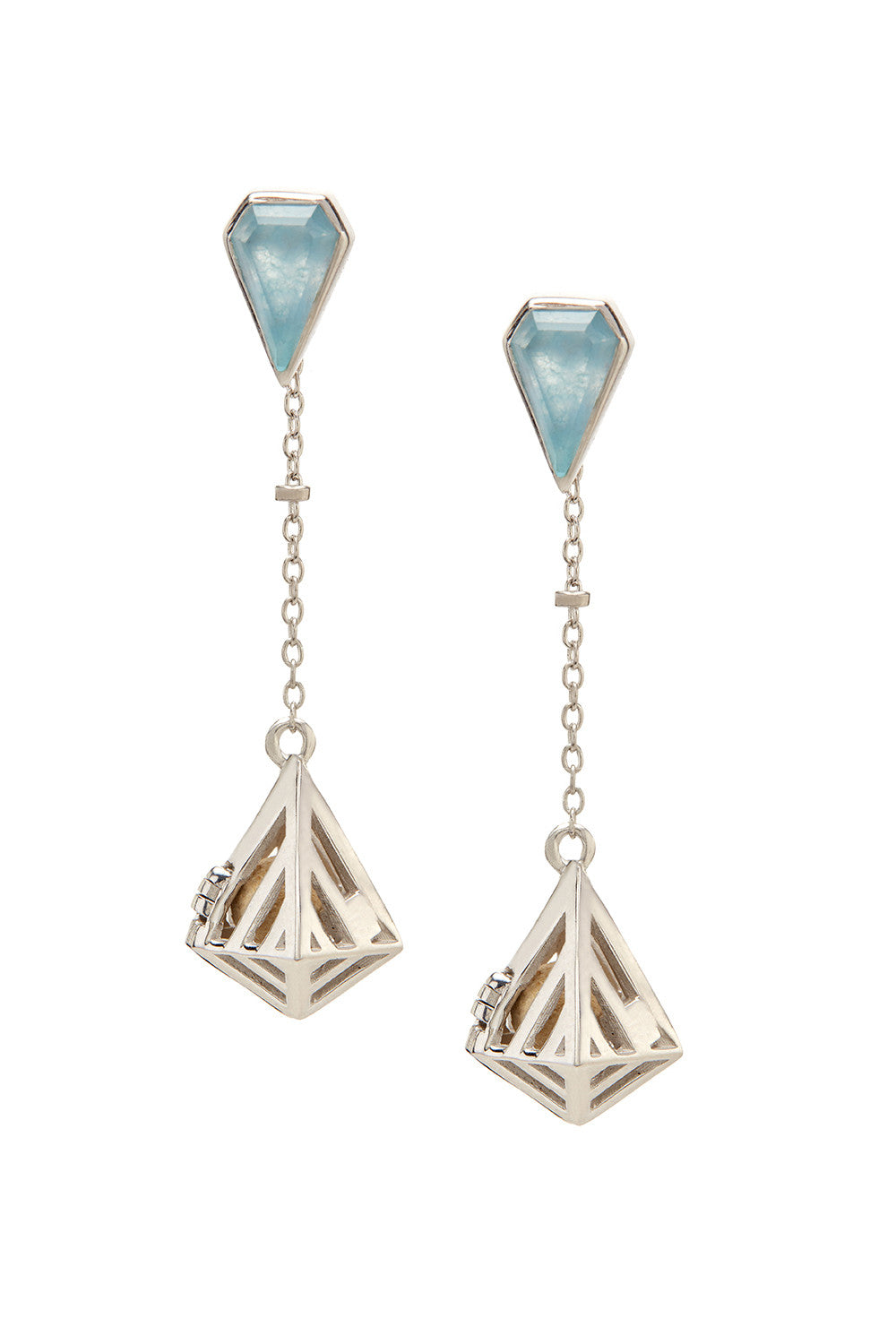 Convertible Geo-Gem Earrings - Silver