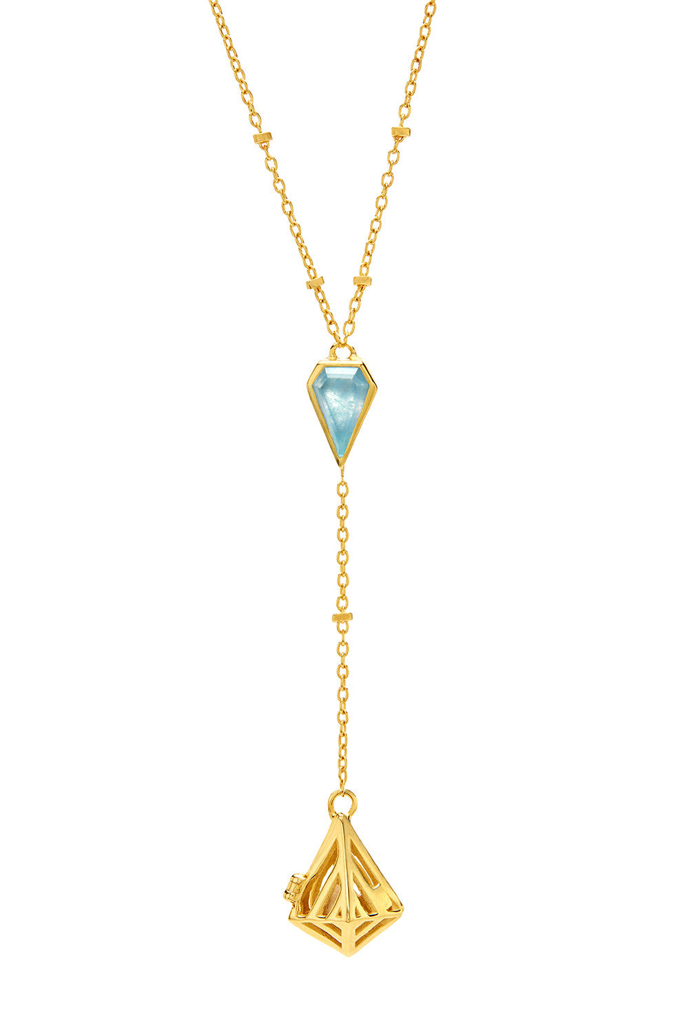 Geo-Gem Y-Necklace - Gold