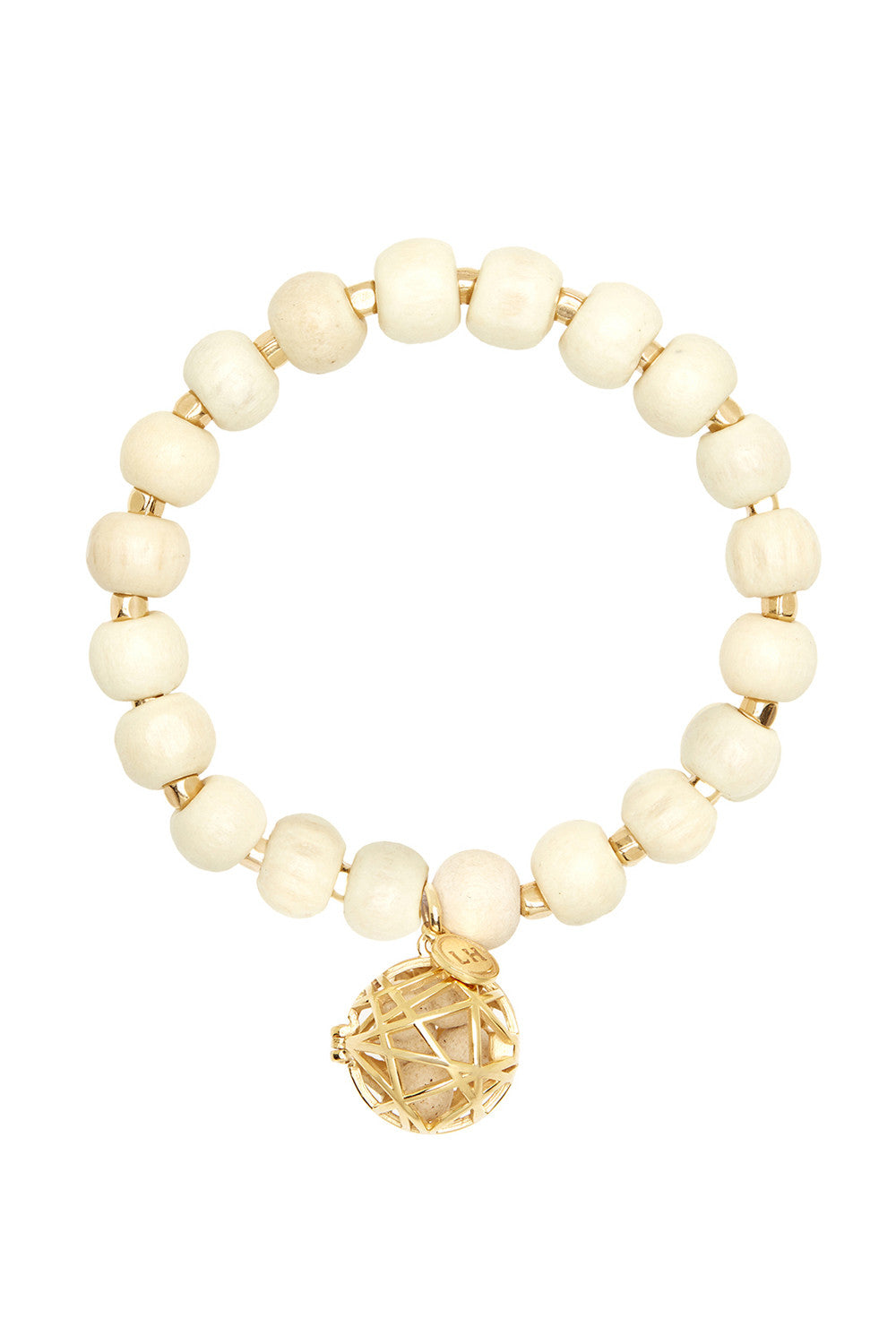Blonde Wood Bracelet with Gold Nest Charm