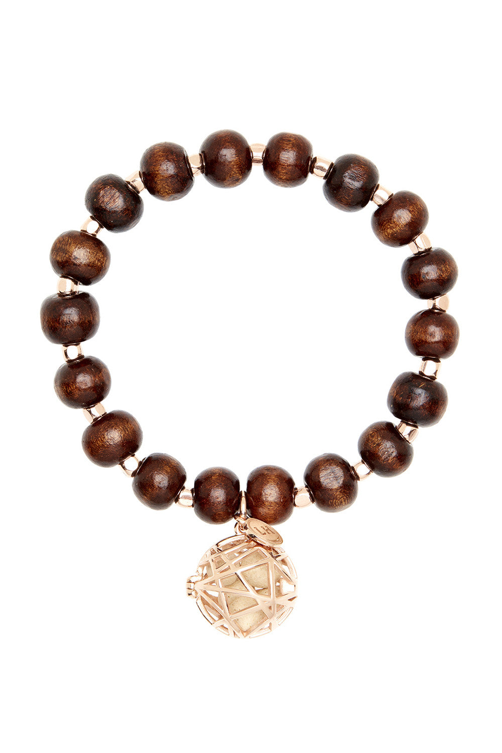 Mahogany Wood Bracelet with Rose Gold Nest Charm