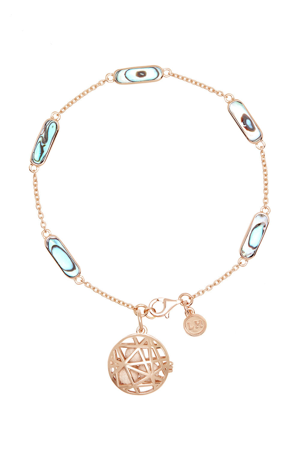 Nest Disc Chain Bracelet - Abalone & Rose Gold