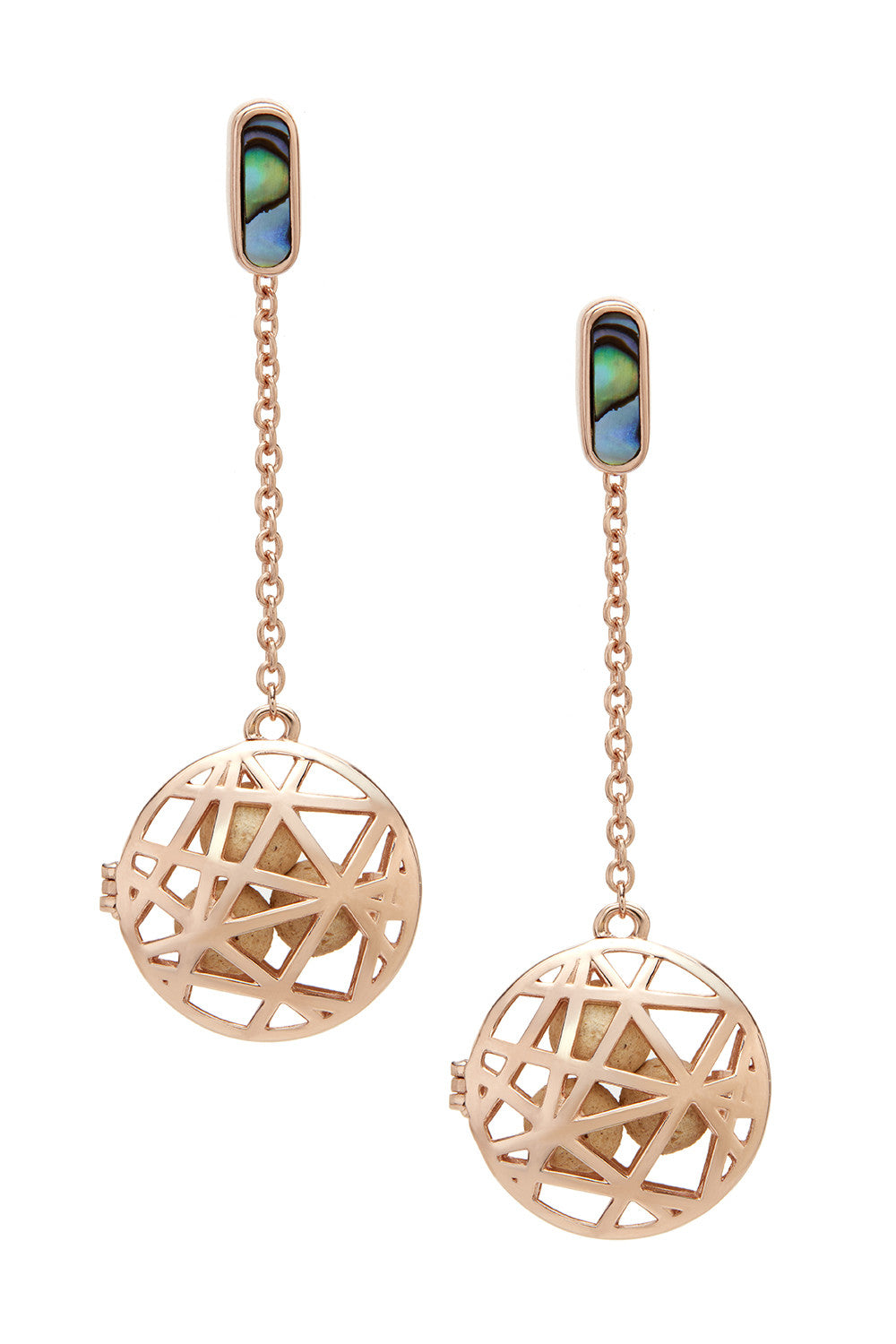 Convertible Nest Disc Earrings - Abalone & Rose Gold