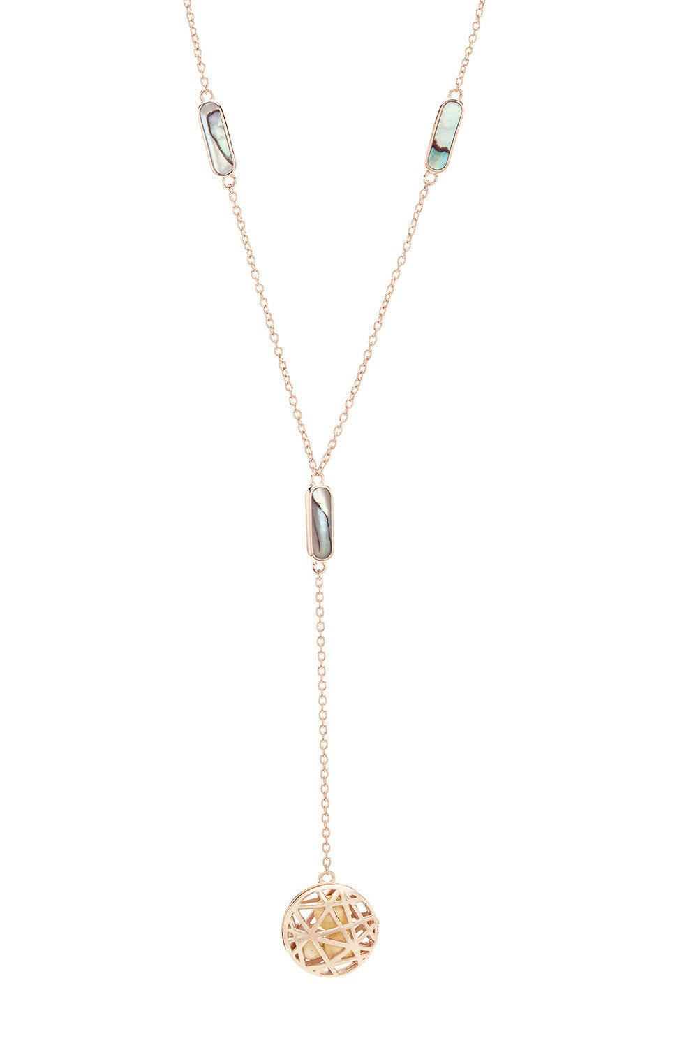 Nest Disc Y-Necklace - Abalone & Rose Gold