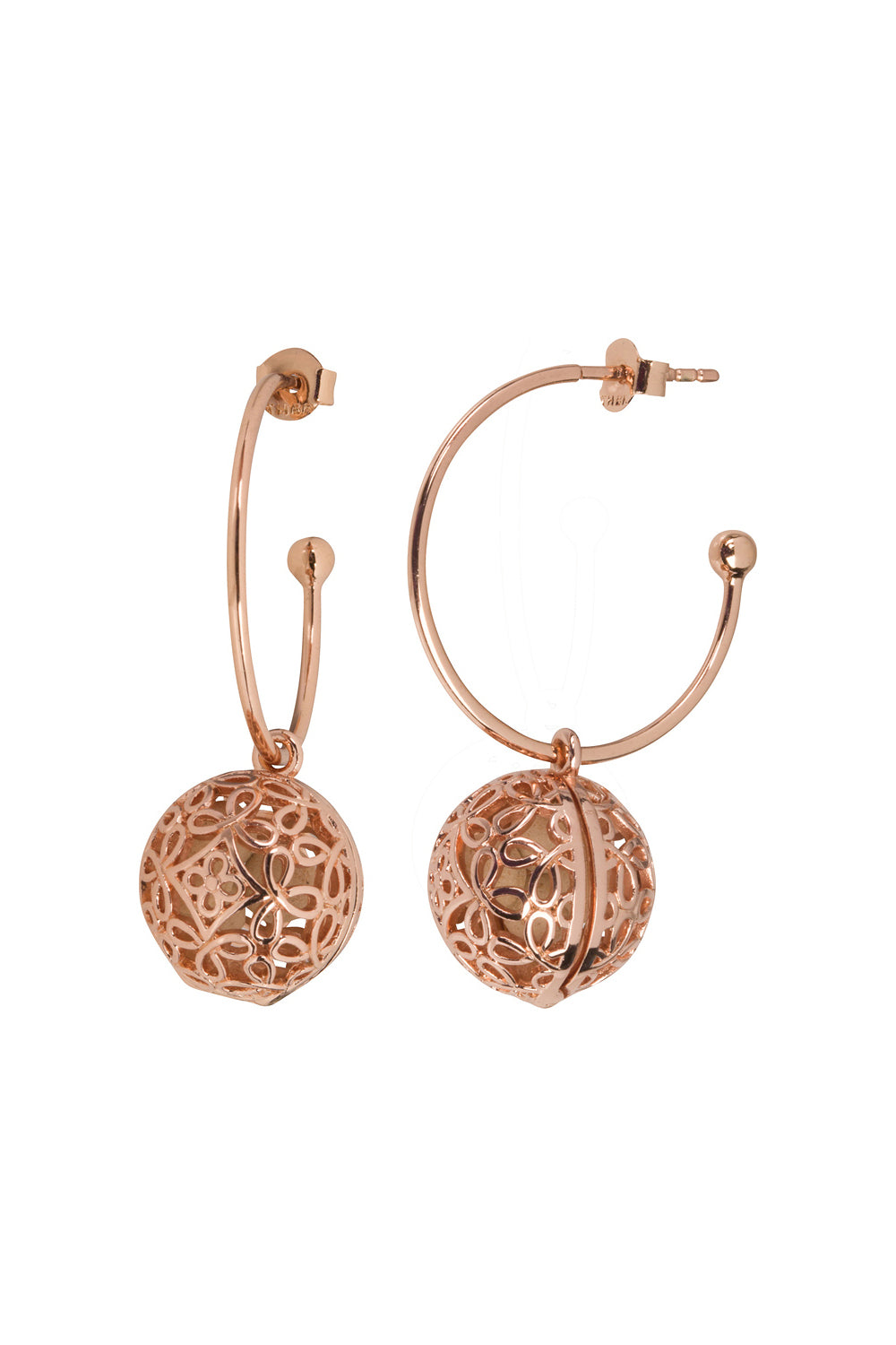 Boho Hoop Fragrance Earrings with Rose Gold Tone Charm