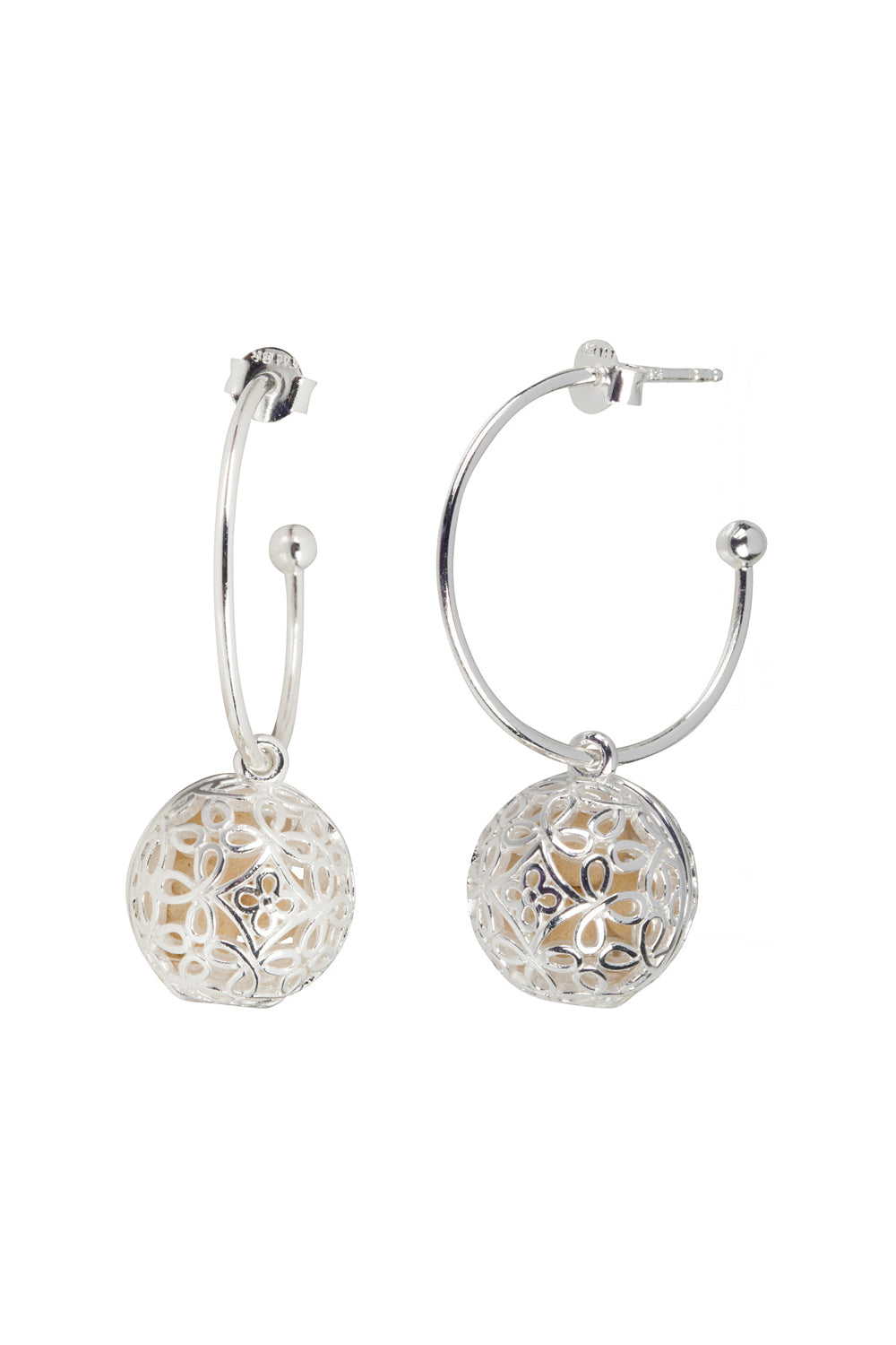 Boho Hoop Fragrance Earrings with Silver Tone Charm