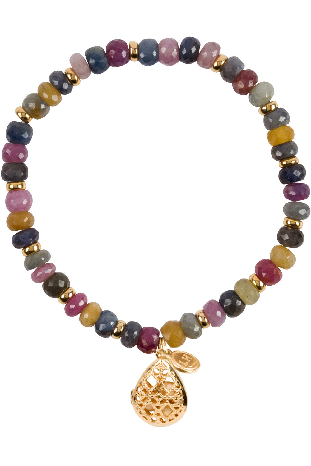 Indian Ruby and Sapphire Laurel Bracelet - Gold