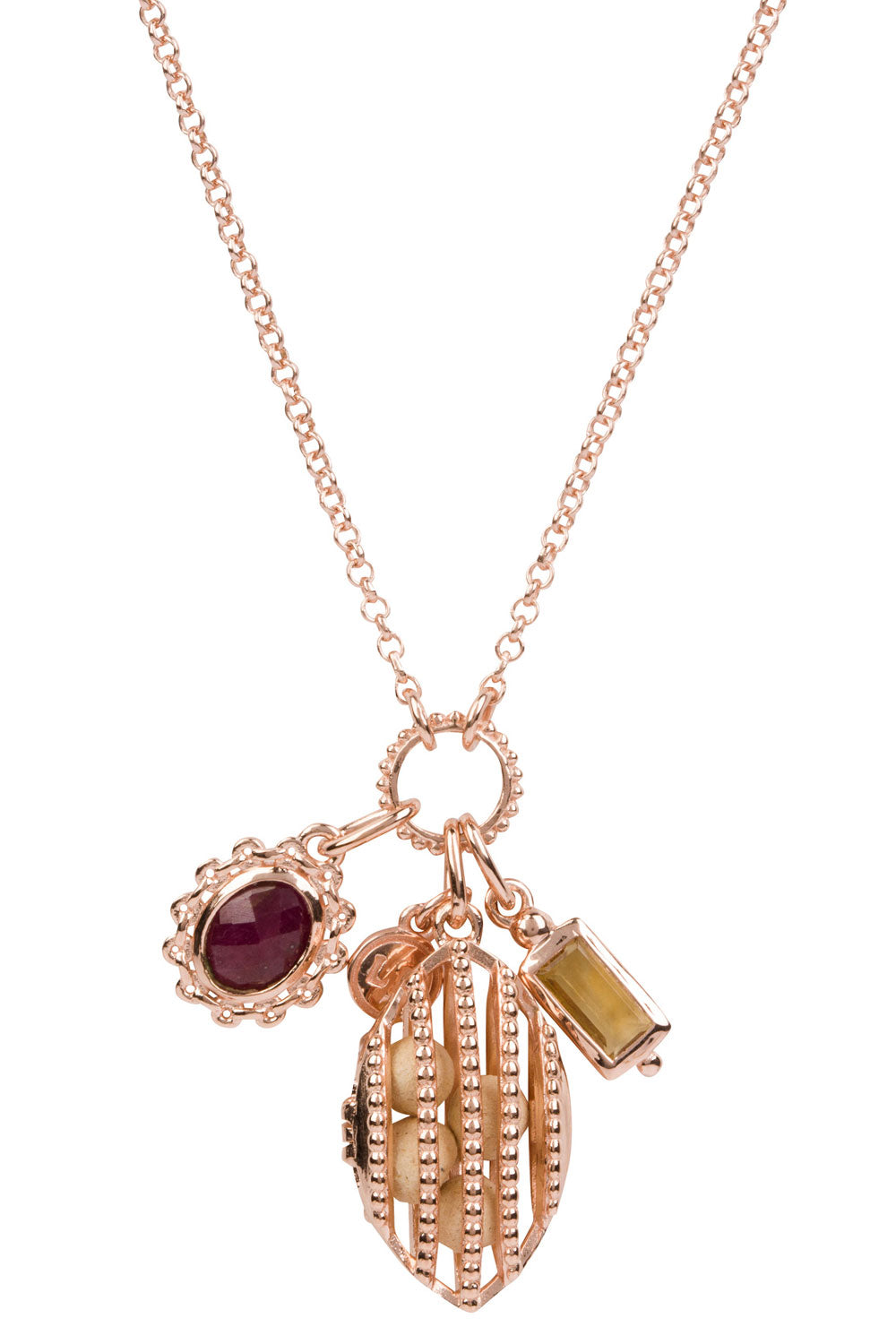 Crest Charm Necklace - Rose Gold