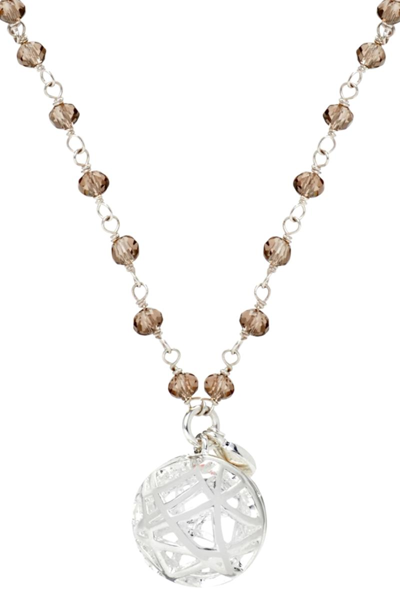 Crystal and Pearl Station Necklace - Grey
