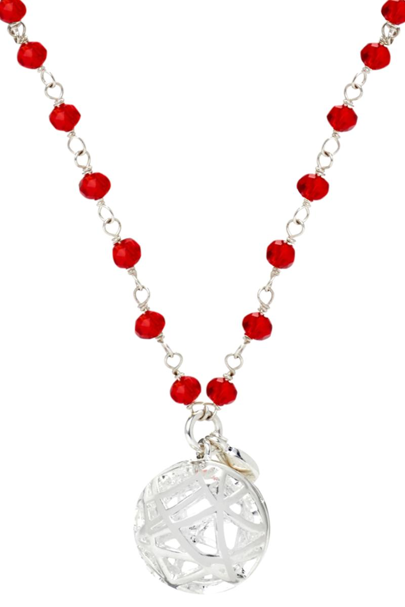 Crystal and Pearl Station Necklace - Red