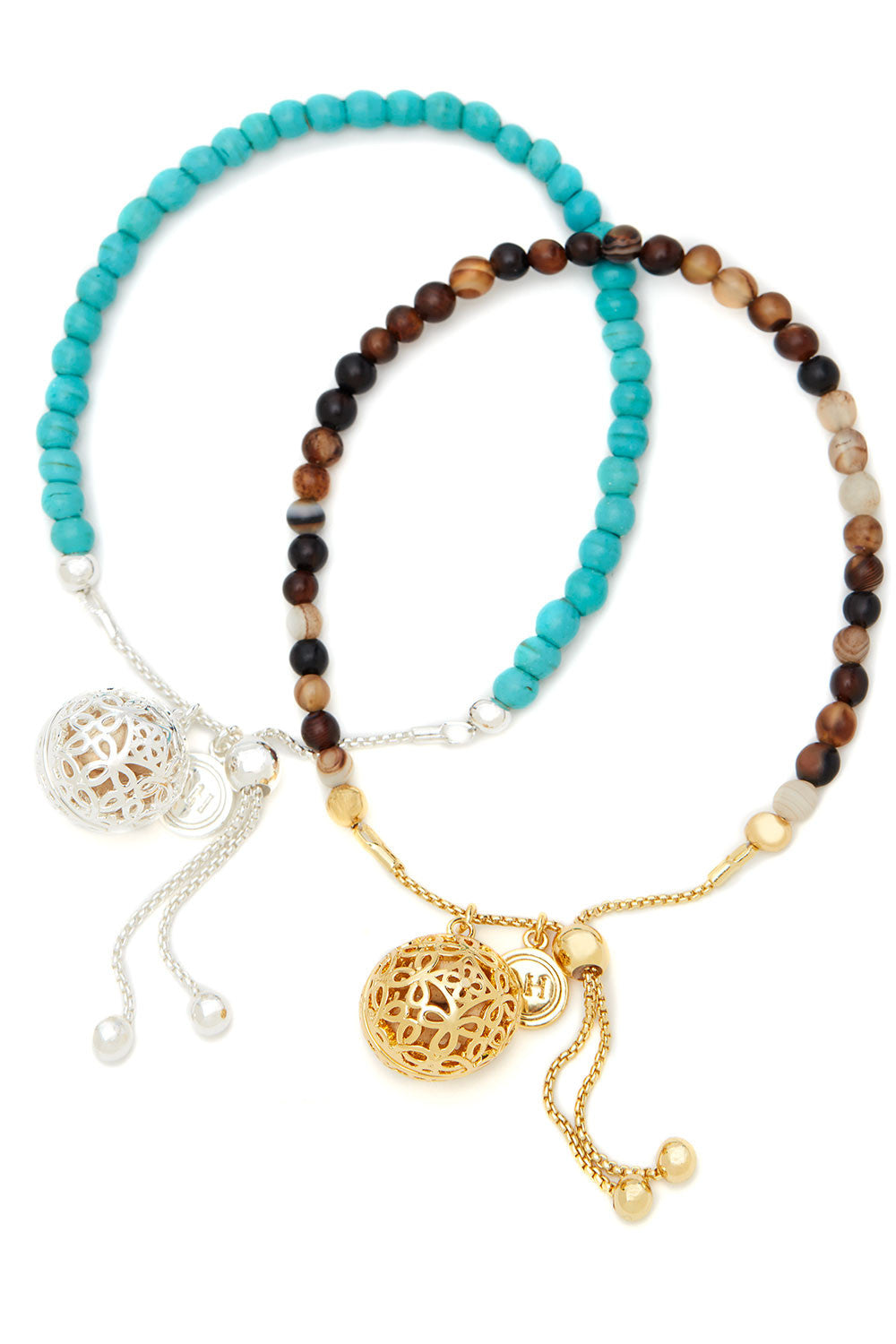 Turquoise & Sand Friendship Bracelet Duo
