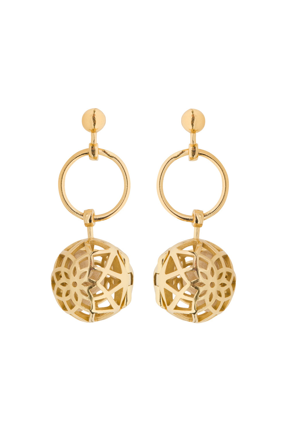 Hoop Drop Fragrance Earrings with Gold Tone Charm