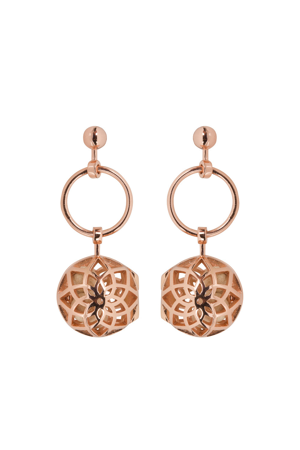 Hoop Drop Fragrance Earrings with Rose Gold Tone Charm