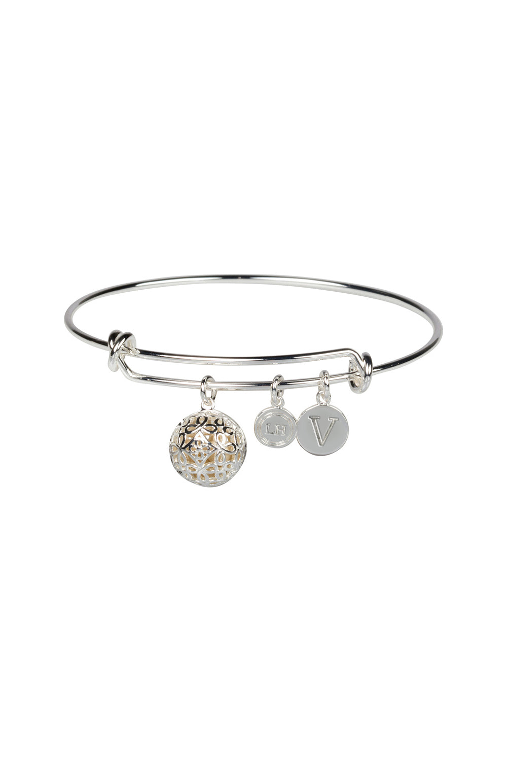 """V"" Initial Fragrance Bangle with Silver Tone Charm"