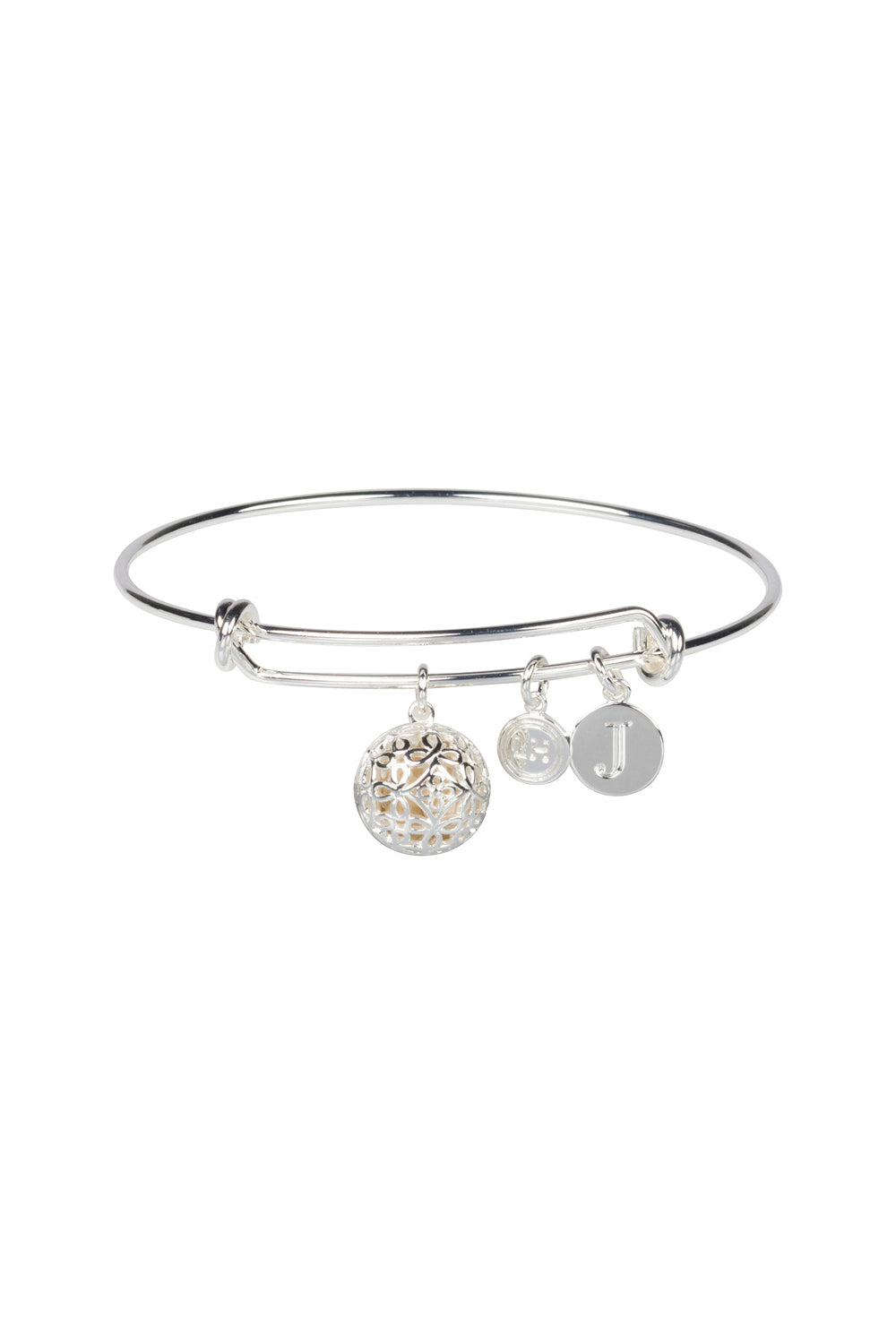 """J"" Initial Fragrance Bangle with Silver Tone Charm"