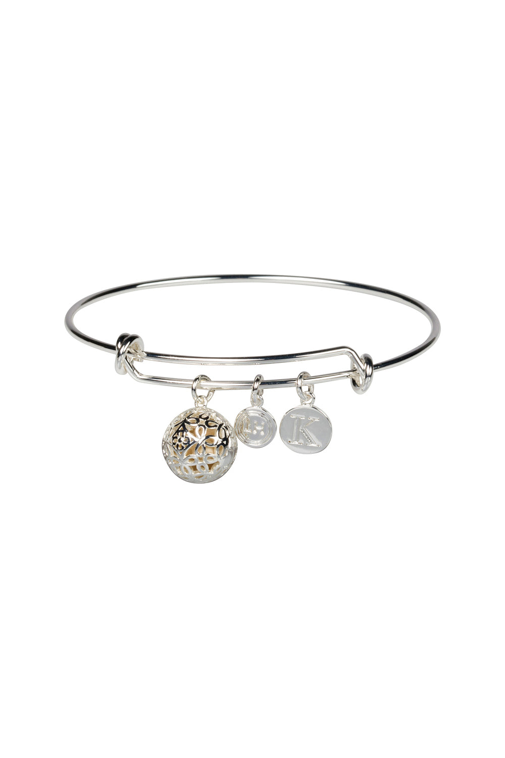 """K"" Initial Fragrance Bangle with Silver Tone Charm"