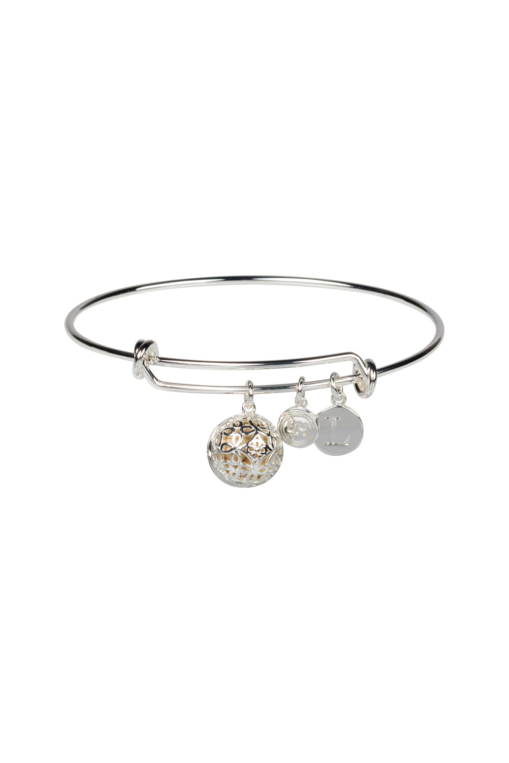 """L"" Initial Fragrance Bangle with Silver Tone Charm"