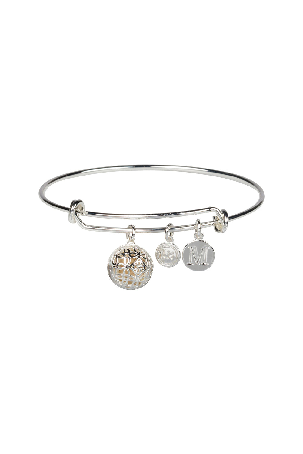 """M"" Initial Fragrance Bangle with Silver Tone Charm"